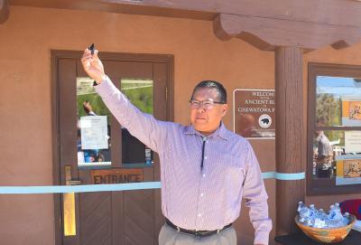 14-Jemez -Jemez Pueblo First Lt Governor Galvan prepares to cut the ribbon at Jemez Historic Site.