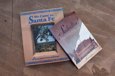 NMA-2019 GEAA  Victor di Suvero, Poet, Pennywhistle Press Book Covers:  We Came to Santa Fe, and ¡Saludosǃ