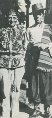 Fray Angélico Chávez and unidentified friend dressed for the Santa Fe Fiesta, Circa 1940