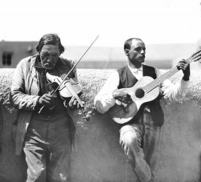 Tiburcio Ulibarri on violin and is brother Dionisio Ulibarri on guitar, New Mexico, early 20th c.