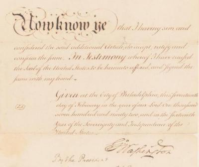 Detail of Additional Article to the Treaty of July 2, 1791