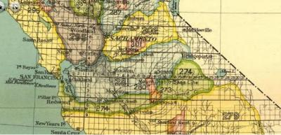 Detail of 1890s map of California