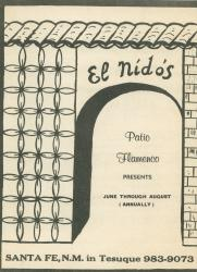 "Program for El Nido's ""Patio Flamenco"","