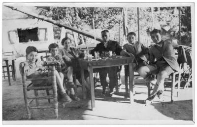 Photo caption: Author Claudette Sutton�s grandparents and their children, on the patio outside their home in Aleppo, around 1946.