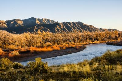 Image: Coronado View of Sandia Mountains and Rio Grande from Coronado Historic Site - Photo by Jack Ellis