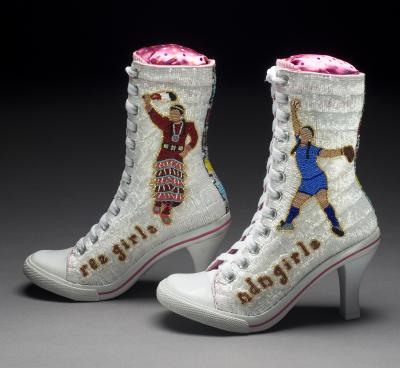 """ndn girlz / rez girlz,"" 2009  Teri Greeves (b. 1970, Kiowa nation)  High-heeled canvas sneakers, glass beads  10 x 9 x 3.5 in. (25.4 x 22.9 x 8.9 cm.)  New Mexico Arts, Art in Public Places Permanent Collection  Photograph by Dan Barsotti"