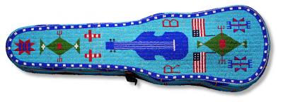 Violin case, 1891 Brulé Lakota  Rosebud Reservation, South Dakota, USA Glass beads, commercial wood case, native-tanned hide, metal trim 32 x 10 x 4.5 in. (81.3 x 25.4 x 11.4 cm.) Stars and Stripes Foundation, San Francisco, California