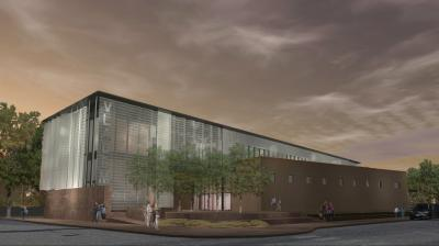 Architectural Rendering of the New Mexico Museum of Art's new Vladem Contemporary, South East Perspective from Guadalupe Street