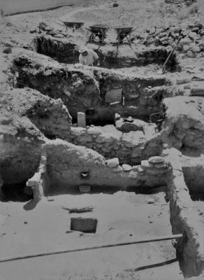 Rooms excavated at Jemez Historic Site in 1965, courtesy of the Museum of Indian Arts and Culture Laboratory of Anthropology.
