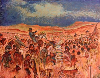 The Long Walk 2, Painting by Shonto Begay, with permission from the artist