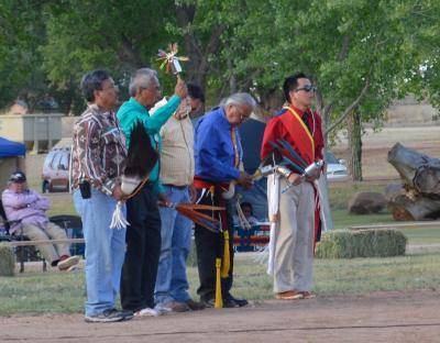 Navajo and Mescalero Apache Gourd Dancers honoring their ancestors through a memorial song. Photo: NM Department of Cultural Affairs.