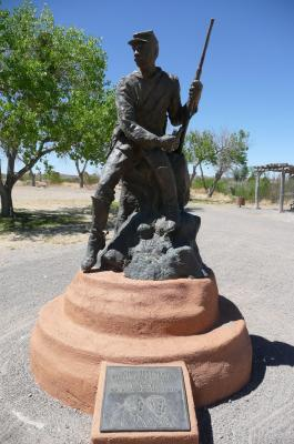 Buffalo Soldier sculpture at Fort Selden Historic Site, New Mexico Historic Sites Photo.