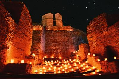14-Jemez Historic Site illuminated by luminarias