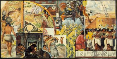 Indians, design for a decorative mural panel, 1933. Watercolor, 6 X 13. El Paso Museum of Art
