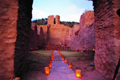 San Jos� de los Jemez Mission Church are decorated with hundreds of traditional farolitos. Image: Courtesy NM Department of Cultural Affairs.
