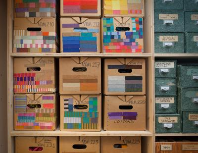 Alexander Girard: Storage boxes arranged and labeled by Girard