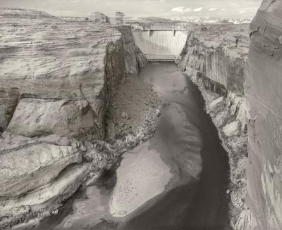 3-MOA -Martin Stupich, Martin Stupich, Glen Canyon Dam, Arizona, view from downstream toward the dam, with canoeist and sandbar beach